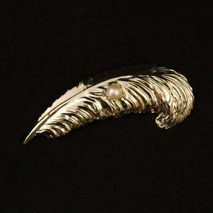 Feather & Pearl Brooch