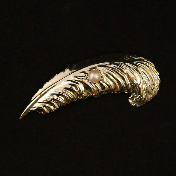 Feather & Pearl Brooch by Cats Like Us : Cats Like Us