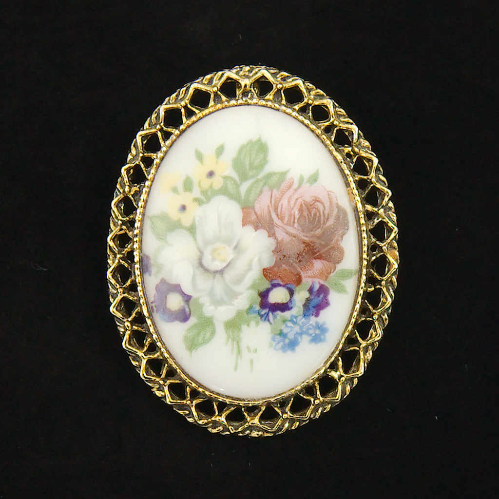 Floral Cameo Brooch Pendant