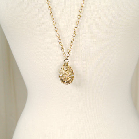 Gold & Pearl Egg Necklace