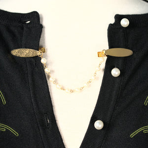 Vintage Gold & Pearl Sweater Clips