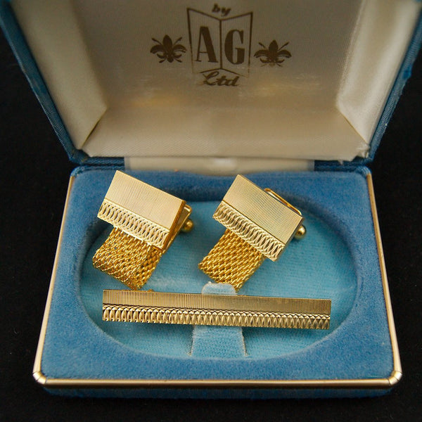 Gold Chain Cufflinks & Tie Bar