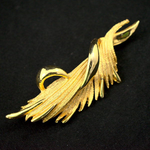 Gold Deco Flame Brooch