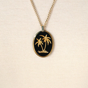 Gold Etched Palm Tree Necklace