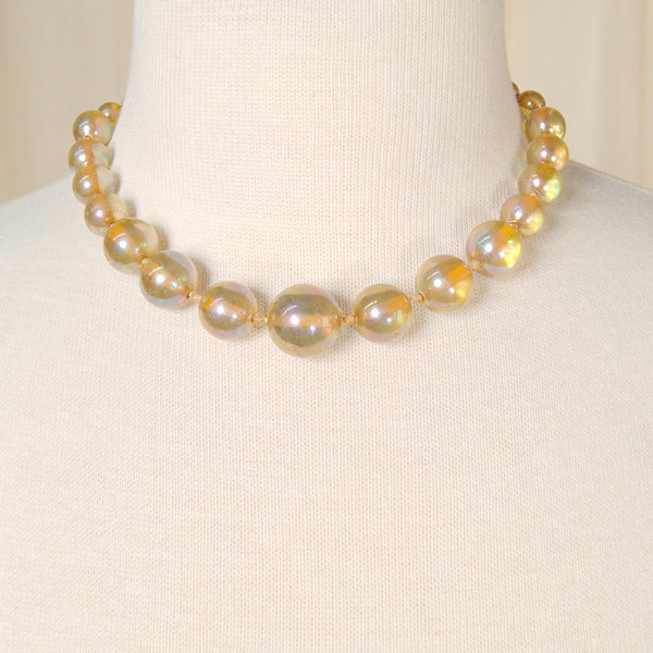 Gold Iridescent Bead Necklace