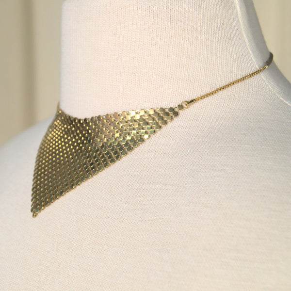 Gold Mesh Bib Necklace - Cats Like Us