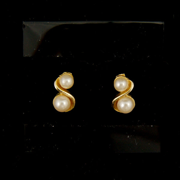 Gold Pearl Swirl Earrings
