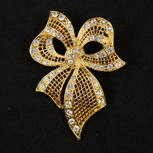 Gold Rhineshone Bow Brooch