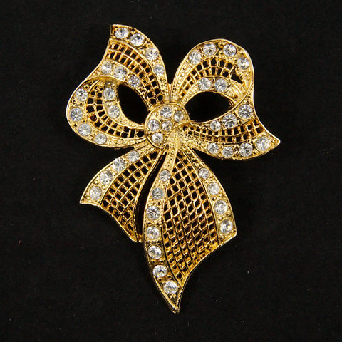 Gold Rhineshone Bow Brooch - Cats Like Us