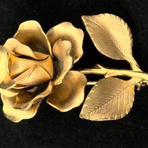 Gold Rose Brooch Pin