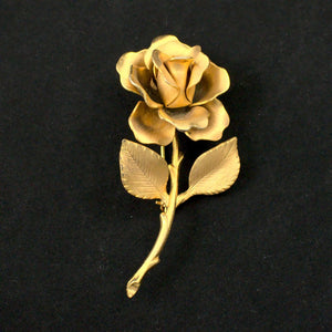 Gold Rose Brooch Pin - Cats Like Us