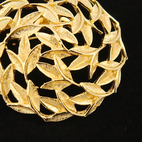 Gold Round Leaves Brooch