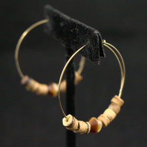 Gold Tiki Bead Hoop Vintage Earrings