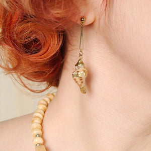 Golden Seashell Earrings - Cats Like Us