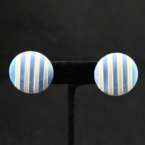 Gray & Blue Dot Vintage Earrings