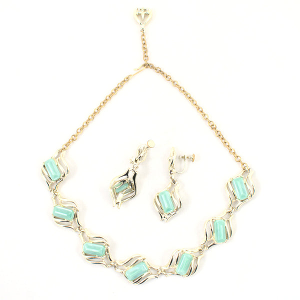Green & Gold Necklace Set