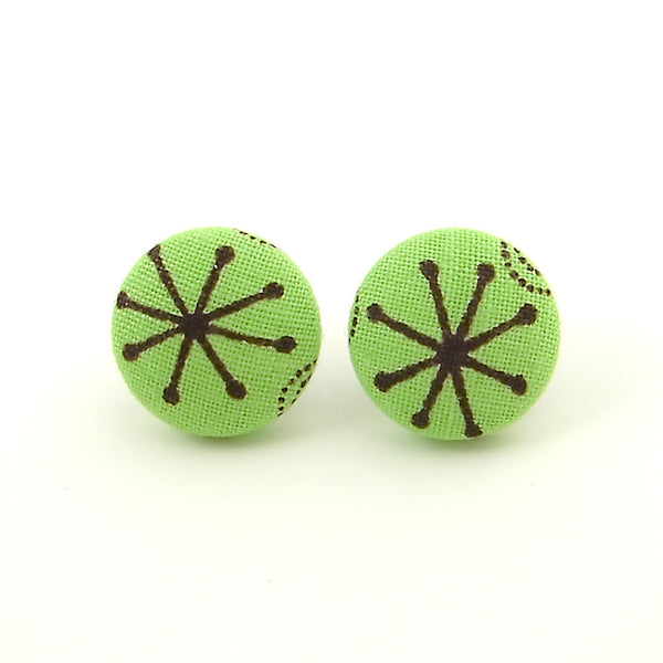 Green Atomic Burst Earrings