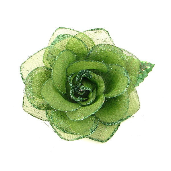 Green Glitter Rose Hair Flower by Cats Like Us : Cats Like Us