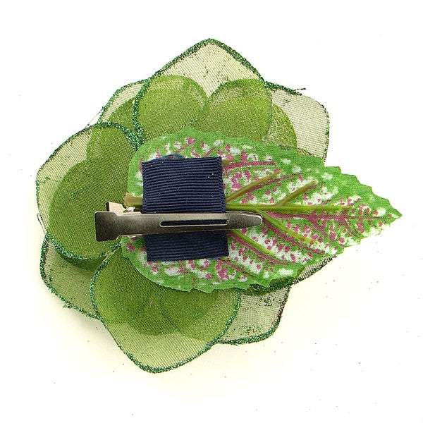 Green Glitter Rose Hair Flower by Cats Like Us