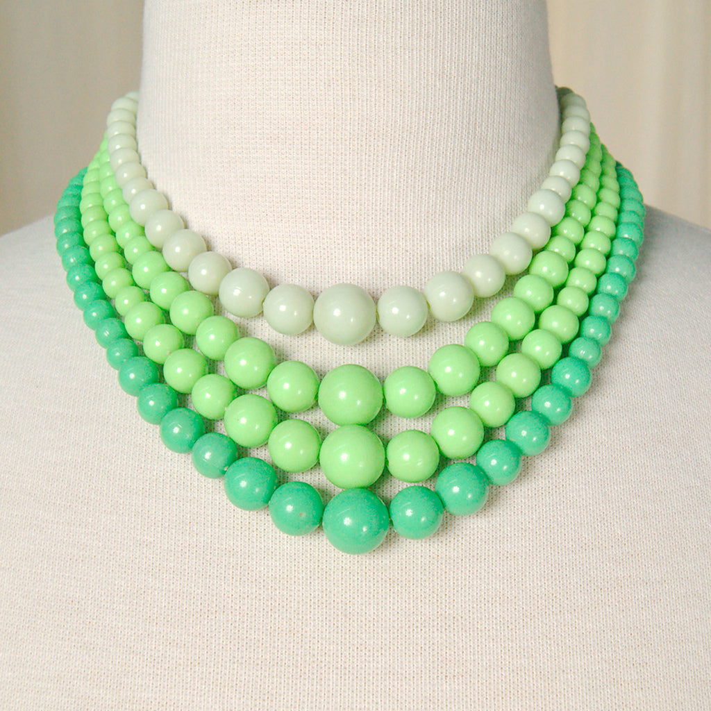 Green Multi Strand Necklace