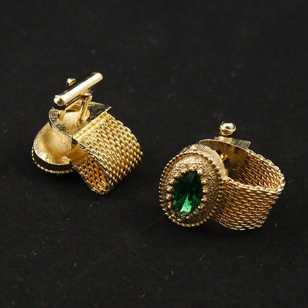 Green Rhinestone Cuff Links