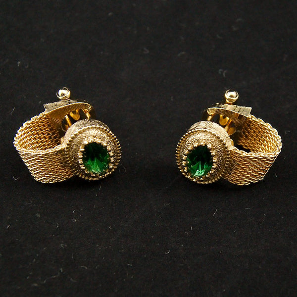 Green Rhinestone Cuff Links - Cats Like Us