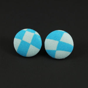 Harlequin Blue Button Earrings by Cats Like Us : Cats Like Us