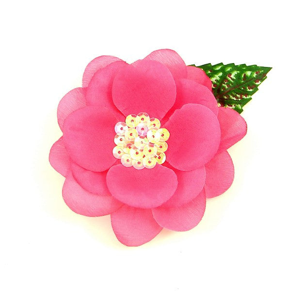 Hot Pink Sequin Hair Flower - Cats Like Us