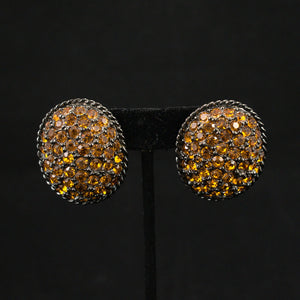 Large Amber Rhinestone Vintage Earrings