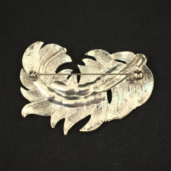 Large Silver Feather Brooch - Cats Like Us