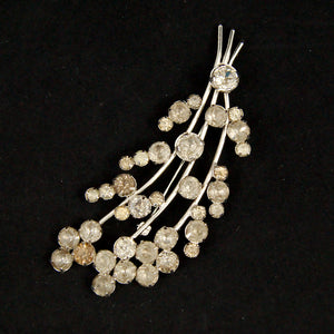 Large Spray Rhinestone Brooch