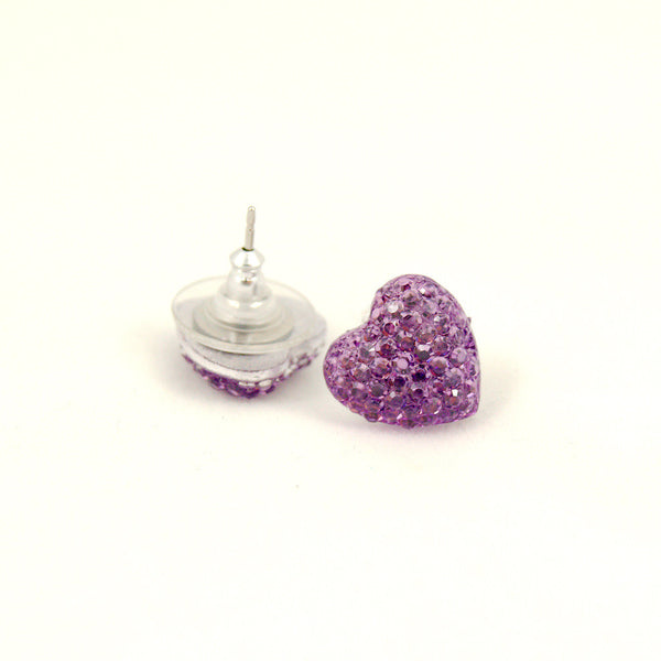 Lavender Sparkle Heart Earrings by Cats Like Us : Cats Like Us