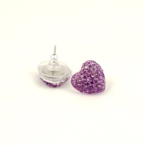 Lavender Sparkle Heart Earrings - Cats Like Us