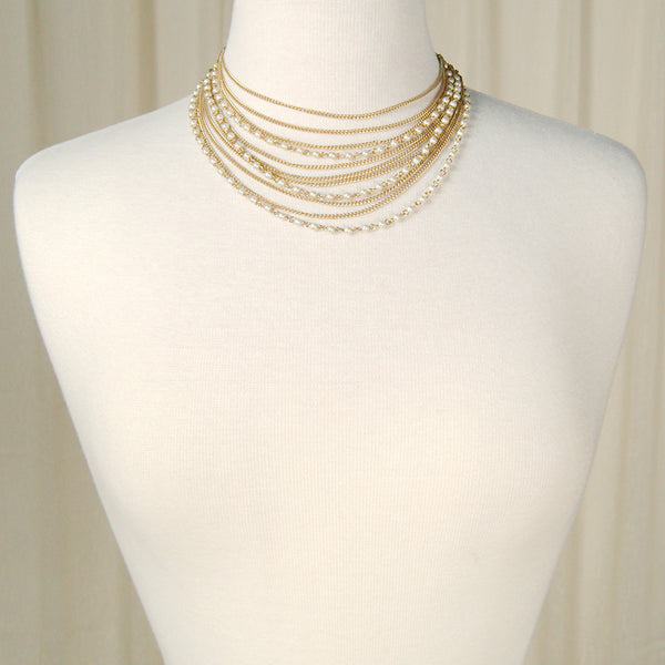 Layer Pearl & Chain Necklace