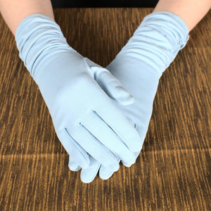Long Baby Blue Ruched Gloves - Cats Like Us