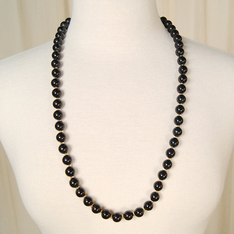 Long Black Bead Necklace