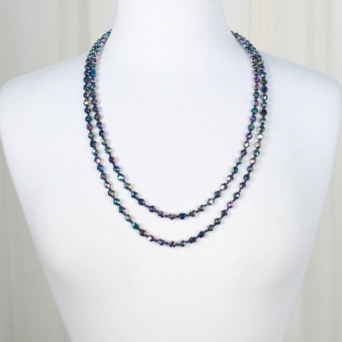 Long Black Iridescent Necklace