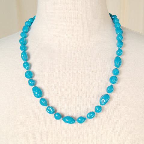 Long Blue Bead Necklace