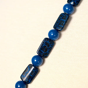 Long Blue Crackle Bead Necklace - Cats Like Us