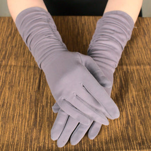 Long Charcoal Ruched Gloves - Cats Like Us