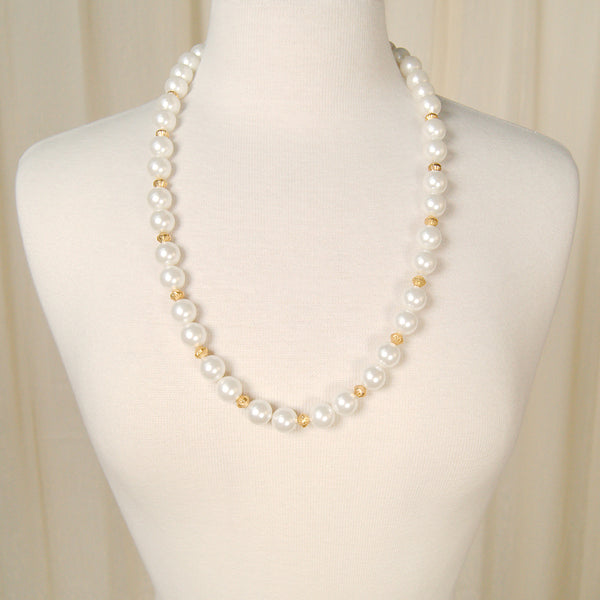 Long Gold & Pearl Necklace