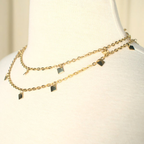 Long Gold Squares Necklace - Cats Like Us