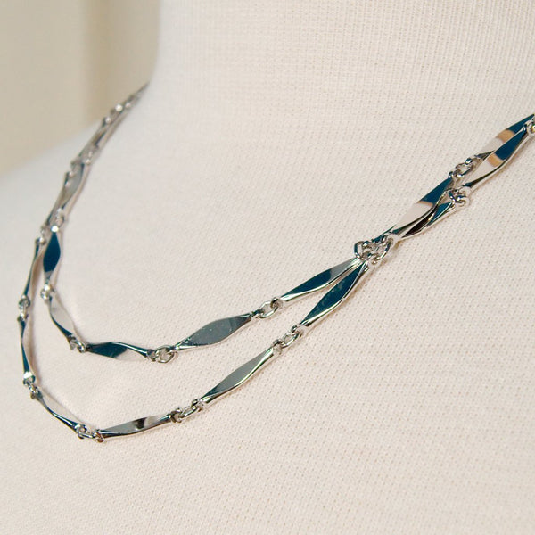 Long Shiny Silver Necklace