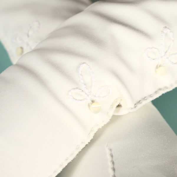 Long White Button & Leaf Gloves