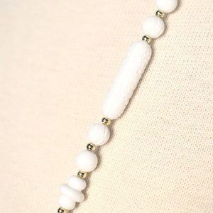 Long White Carved Bead Necklace