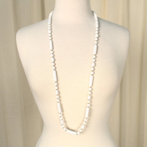 Long White Carved Bead Necklace - Cats Like Us