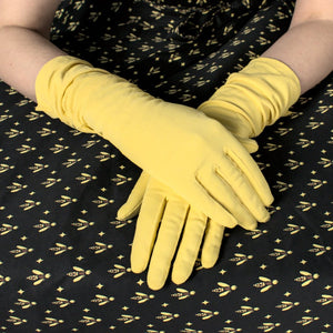 Long Yellow Ruched Gloves - Cats Like Us