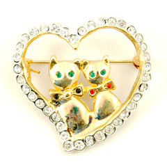 Love Cats Brooch Pin