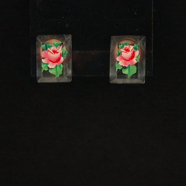 Lucite Rose Pin & Earring Set