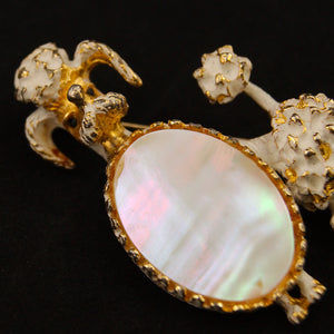 Mother of Pearl Poodle Brooch by Cats Like Us : Cats Like Us